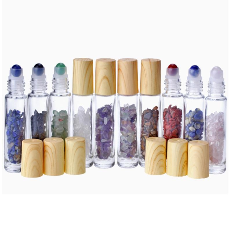 100pcs التي / الكثير 10ML الأحجار الطبيعية من الضروري النفط الأحجار الكريمة زجاجات الرول الكرة الحصى اليشم الكرة زجاجات الأسطوانة