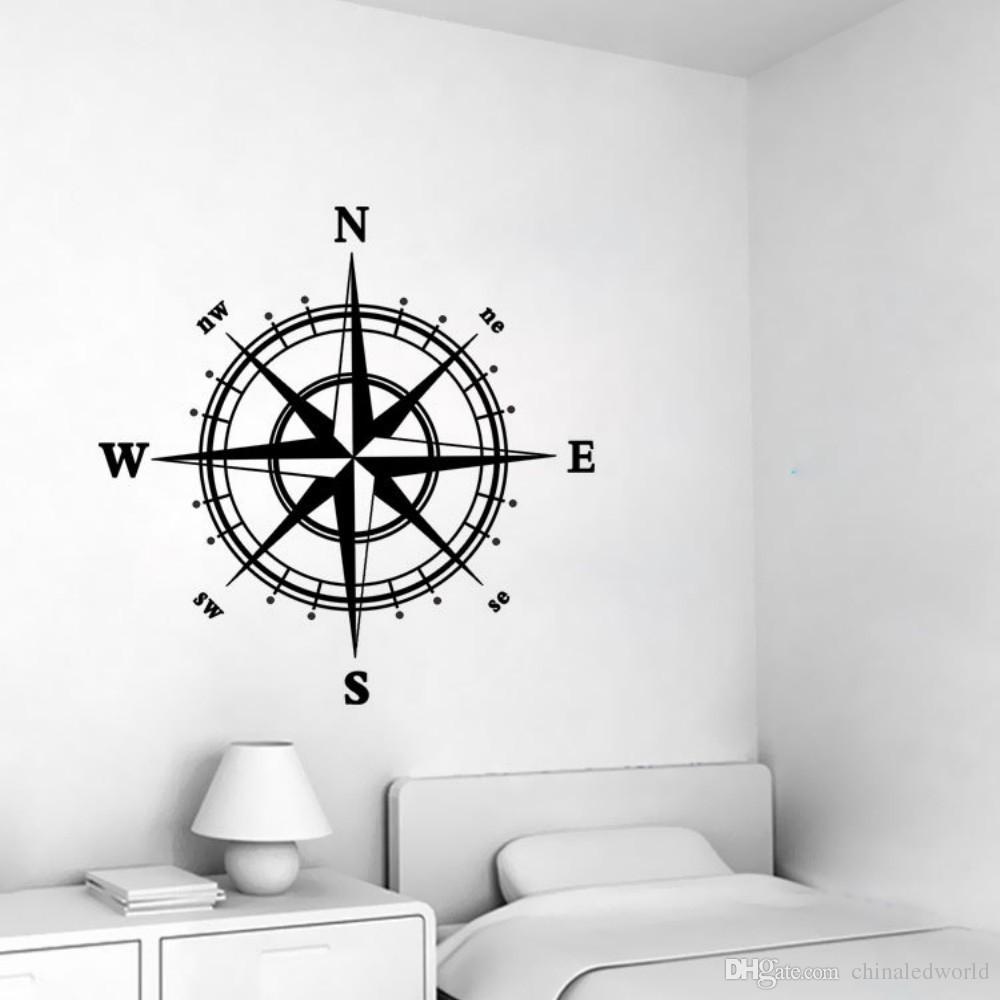 4-RICHTUNG Kompass Vinyl Wandaufkleber für Wohnzimmer Dekoration