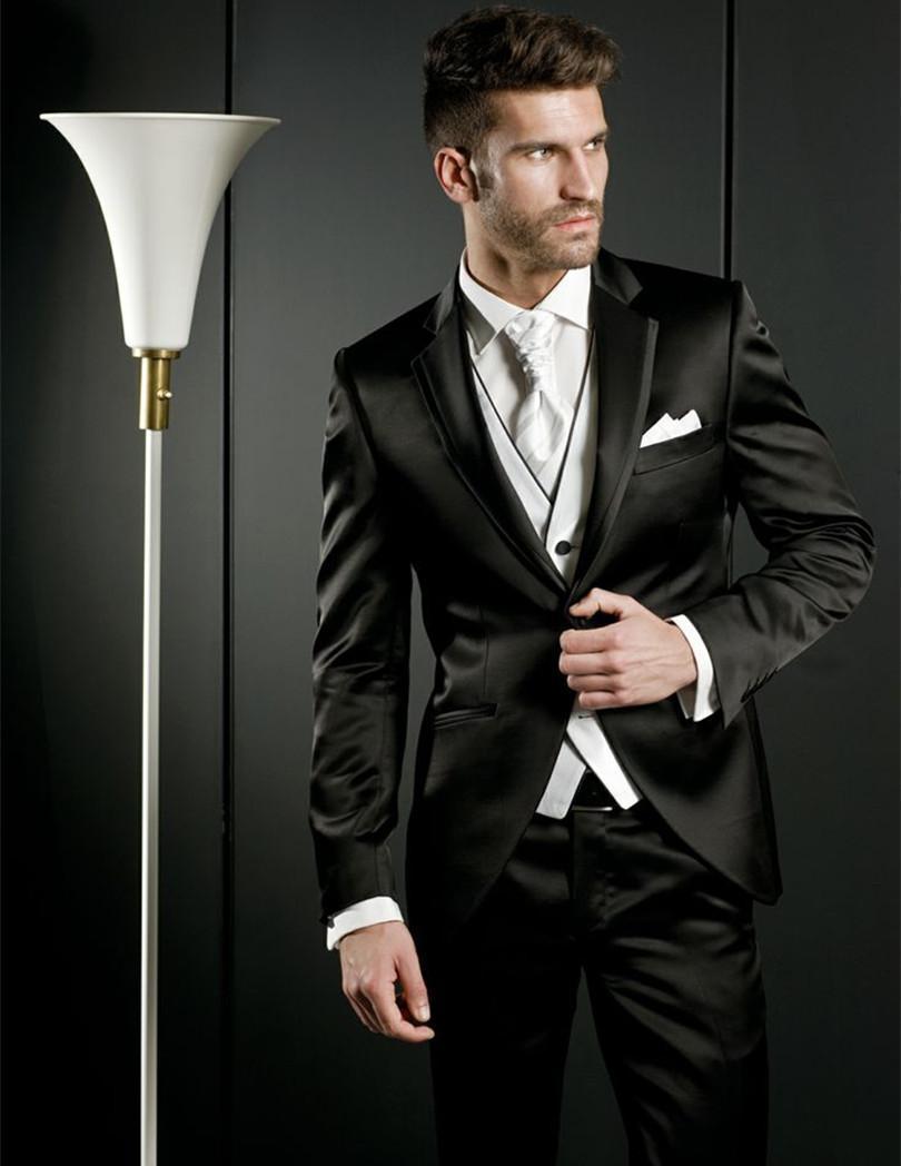 Nouveau De Haute Qualité Un Bouton Noir De Mariée Tuxedos Encoche Revers Groomsmen Hommes Robes De Mariée Costumes De Bal (Veste + Pantalon + Vest + Cravate) 618
