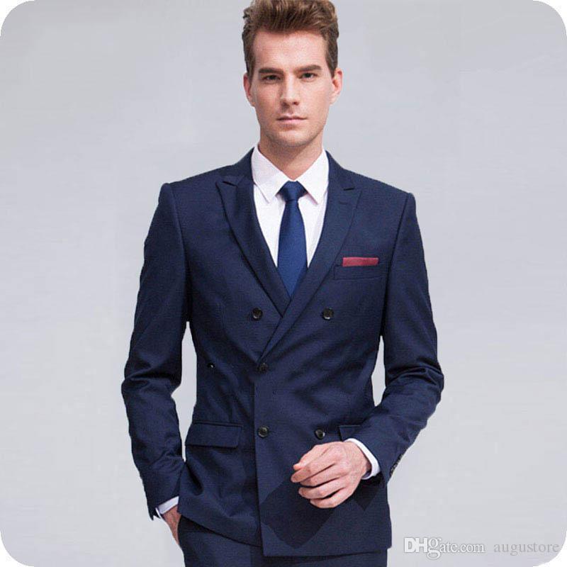 Erreichte Revers formale Blue Man Blazer Bräutigam Smoking Männer Anzüge für Hochzeit Mann Jacke 2 Stück (Coat + Pants) Slim Terno Masculino Trajes de hombre