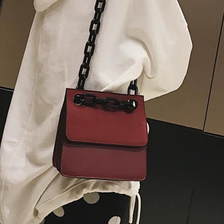 Casual Cadenas acrílico enrejado de las mujeres bolsos de hombro bolso crossbody Bolsas Señora marcas Pequeño PU de cuero de la aleta Bolsa Messenger Bags