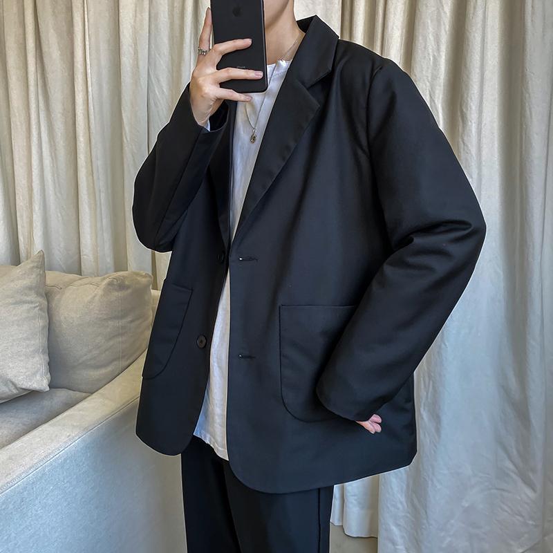 2020 Primavera e Outono Nova Juventude Popular cor sólida japonês Pequeno Suit Moda Casual selvagem camisetas Neutro Preto S-2XL