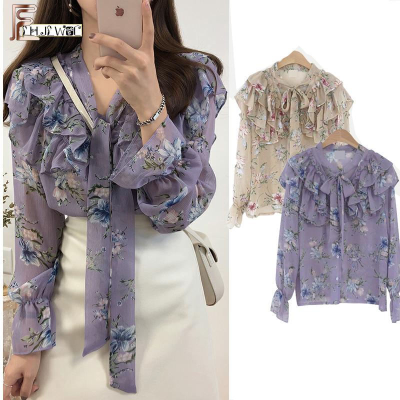 2019 Sevimli Tatlı Papyon Tops Sıcak Satış Kadın Kore Tarzı Yay Bluz Gömlek Kadın Kızlar Mor Çiçek Vintage Üst Bluz 2021 Y200422