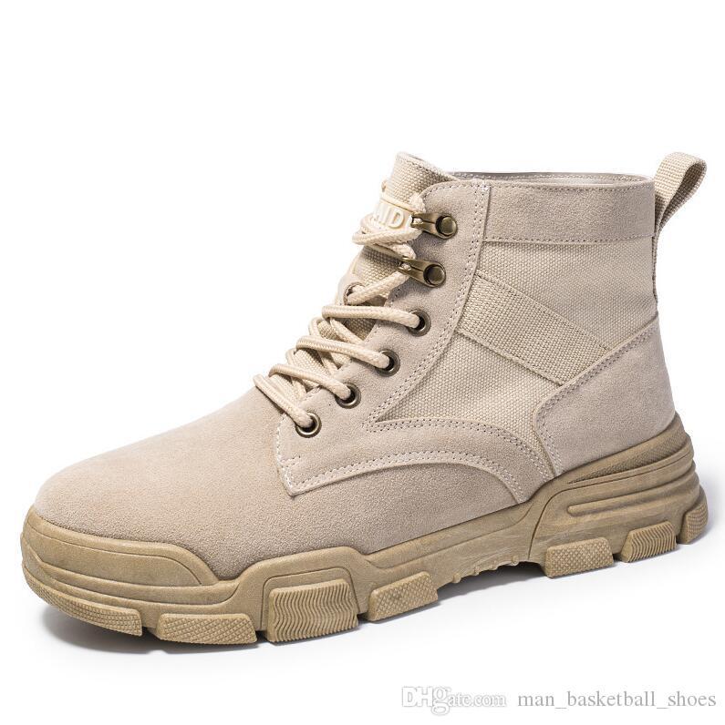 2019 homens high-top sapatos casuais botas estilo britânico Cáqui Preto Bege mens Martin botas sapatos de ferramentas resistentes ao desgaste