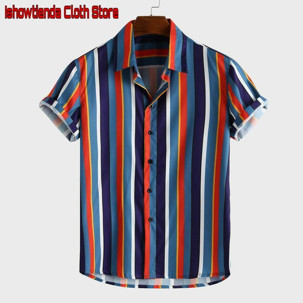 Camicie casual da uomo 2021 Elegante uomo traspirante striscia estate manica corta pulsanti sciolti camicia camicia blusa spiaggia hawaii camicia da uomo caldo