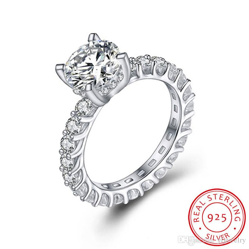 2.0CT 8MM Classic Created Moissanite Wedding Engagement Rings for Women 100% Real 925 Sterling Silver Ring New Fashion Jewelry XR325
