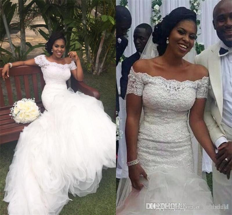 С плеча длинные русалка свадебные платья 2018 новое кружево развертки штамм органза зашнуровать многоуровневое свадебное платье свадебное платье на заказ