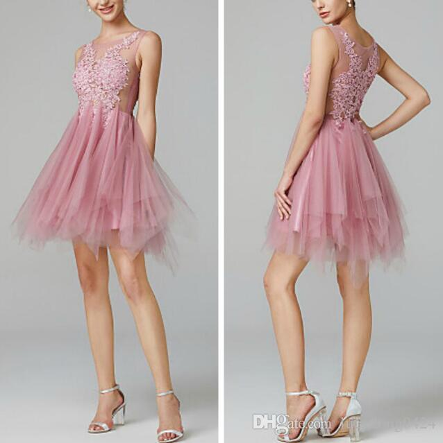 Beautiful New Simple Tulle Cocktail Dresses See-through Back Jewel Knee Length Formal Party Dresses Party Evening Gowns with Applique