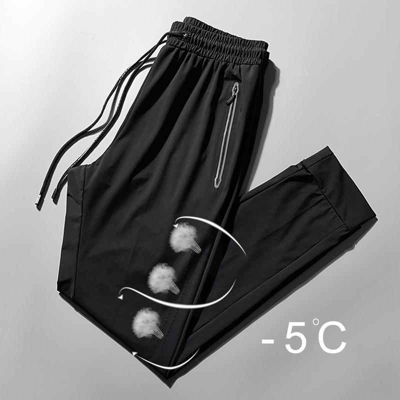 Plus Size Herren Schnell trocknend Hosen-Sommer-Breathable Ice-Silk beiläufige Hosen der Männer dünner Abschnitt Fat Hose männlich los 8XL