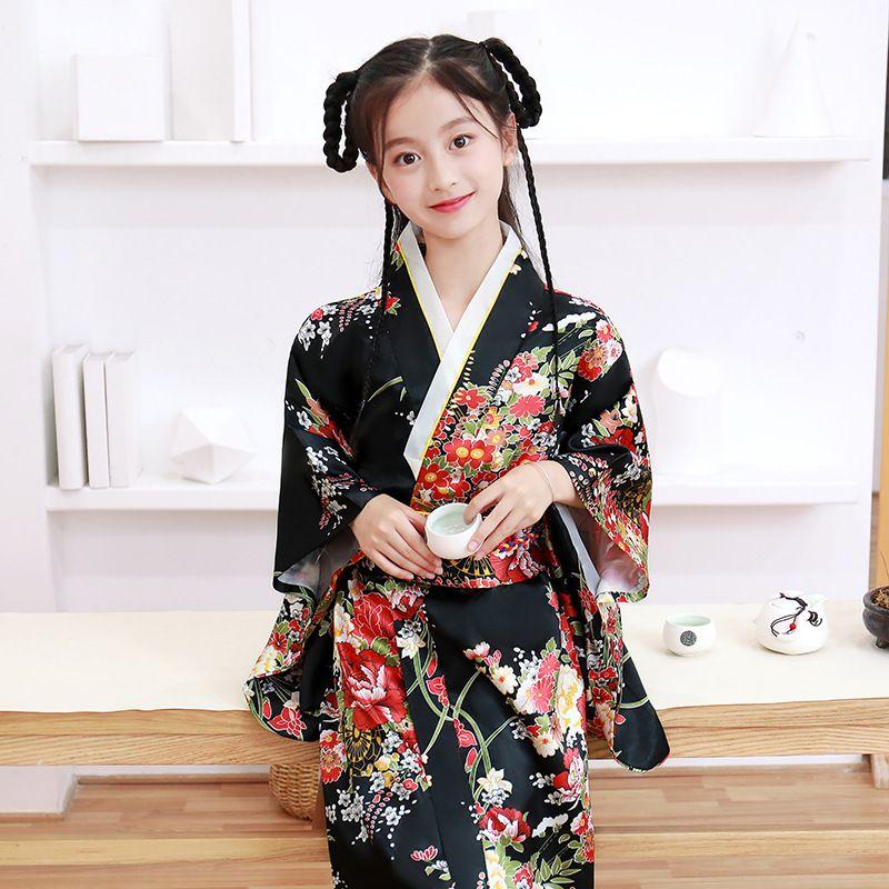 Traje de Cosplay de la niña kimono tradicional del partido del estilo japonés de los niños del vestido formal de los niños Yukata Batas Haori Samurai ropa
