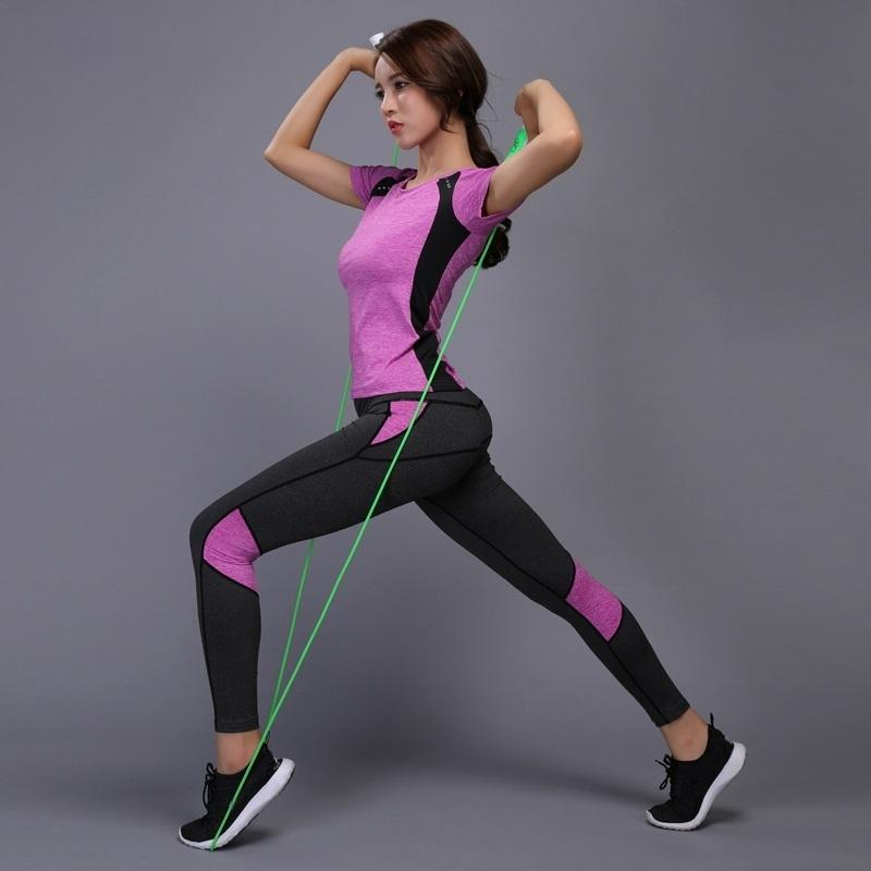 Women Yoga Sets T-shirts Pants Fitness Workout Clothing Gym Running Girls Slim Leggings Tops Sport Wear Patchwork Sport Suits Q190521