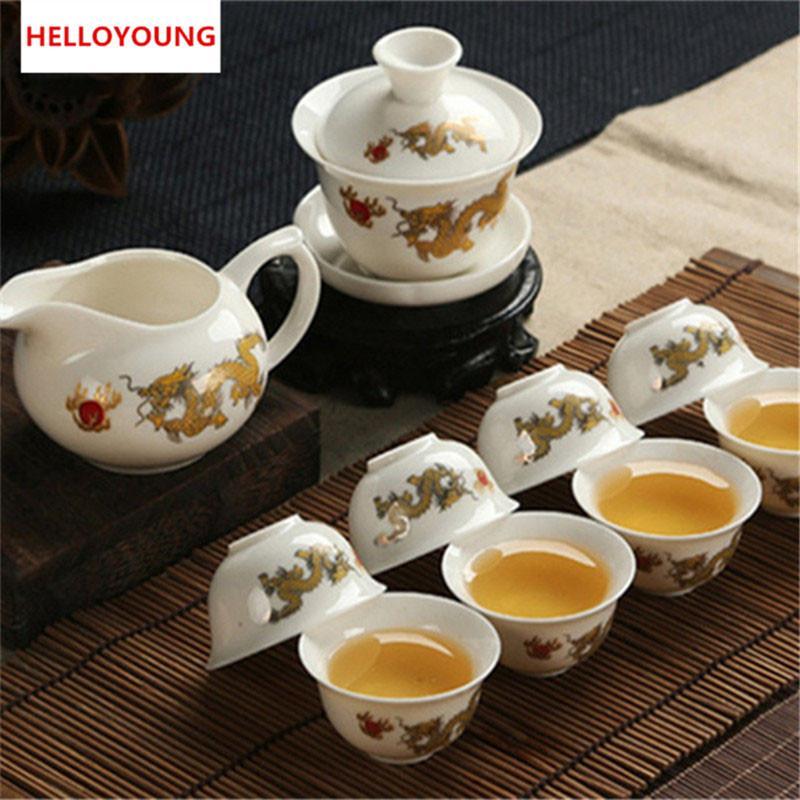 De haute qualité Golden Dragon blanc laiteux Jade Porcelaine Céramique Kung Fu Tea Set Cup Bone China Drinkware Emballage cadeau préféré 2019