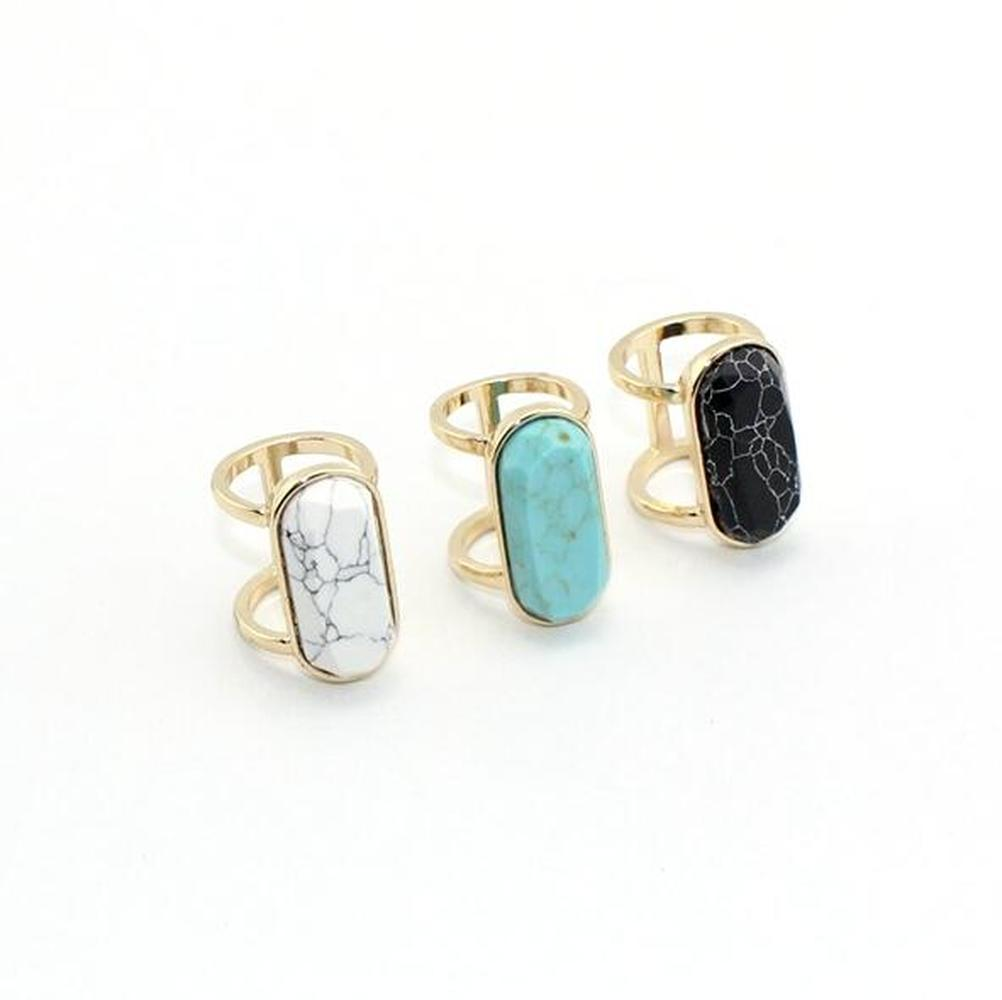 Fashion White Blue Turquoise Ring for Women Jewelry Gold Color Natural Stone Geometry Oval Kallaite Howlite Black Ring