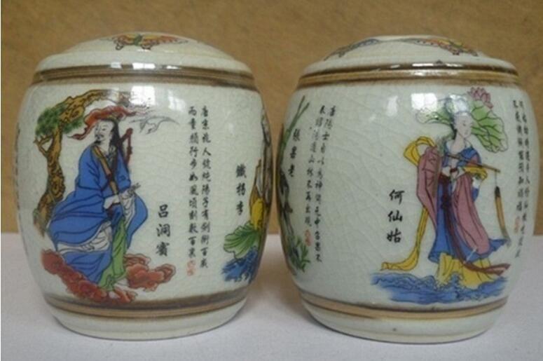 1 paio di vecchio lavoro manuale Jingdezhen porcellana pittura otto immortale vaso di archiviazione