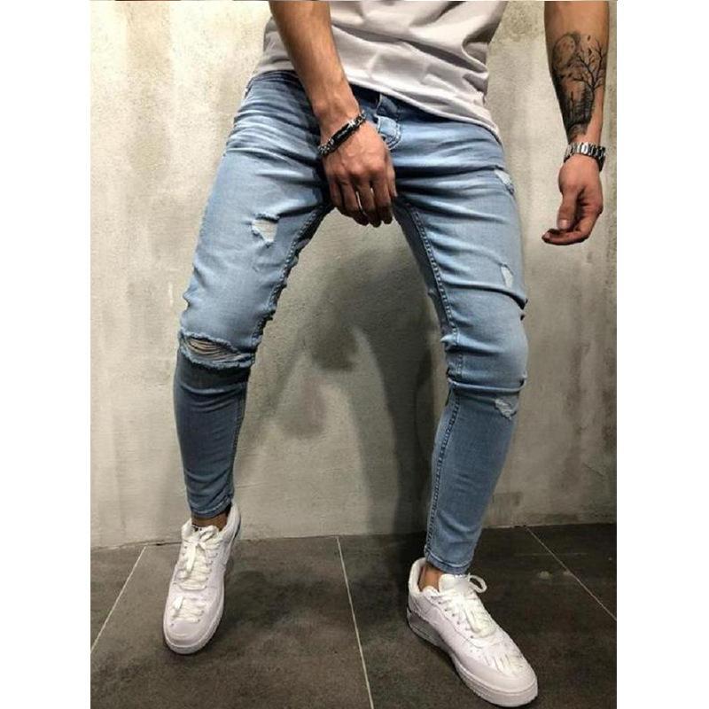 Compre 2020 Europa Y Los Estados Unidos Fashion Jeans Europa Station Hole Slim Print Pies De Hombre Pantalones A 22 35 Del Boy Top2028 Dhgate Com