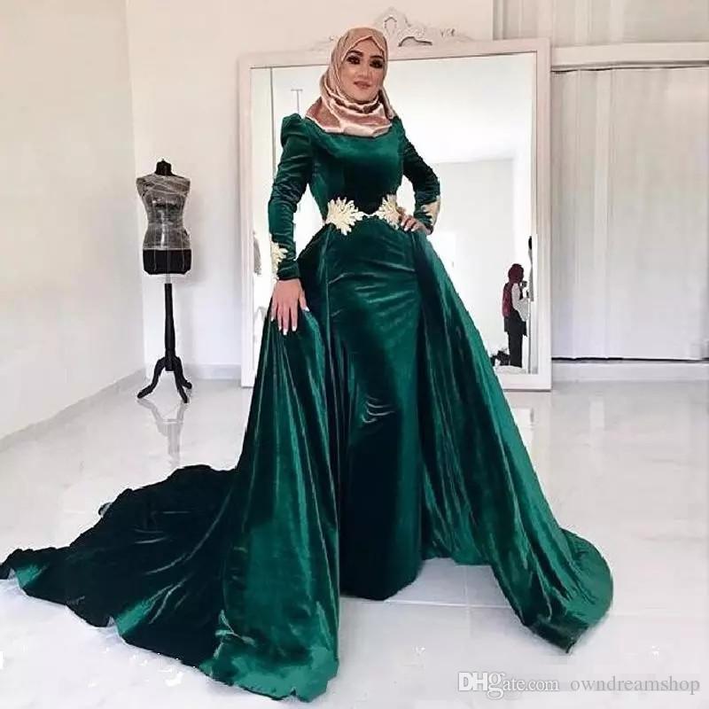 2019 Mousseline Islam Haji Femmes Robe De Soirée D'hiver Musulman Velours À Manches Longues Overskirt Parti De Bal Usure Des Femmes Élégantes A-ligne De Robe De Soirée