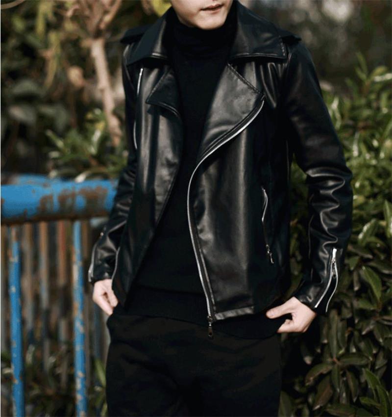 Männer PU Lederjacke Mäntel Punk Fan Auto Ledermantel junge Studenten hübsche Jacken Mode lässig Baumwolle warm schwarz PU 2XL