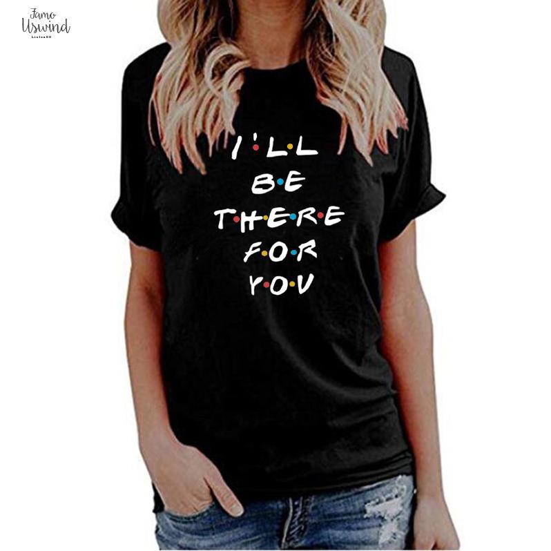 Kol orada t-shirt lunoakvo için kısa baskı olabilir mektup v yaka hasta gömlek tshirt siz arkadaşlar arkadaşlar bayan üst tee hpdba