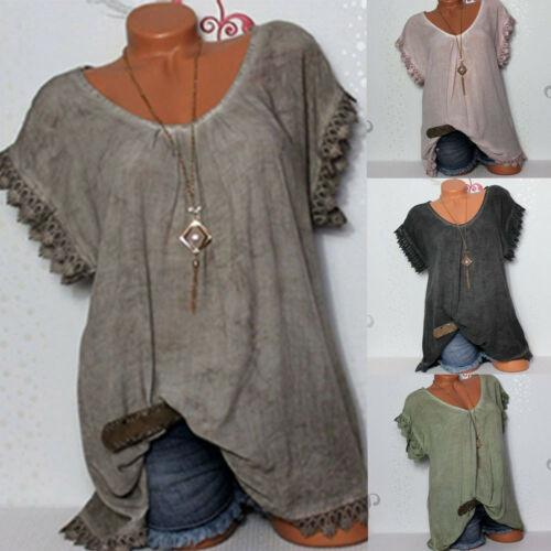 Plus Womens Lace Crochet Floral Bell Sleeve Loose Tunic Tops Shirts