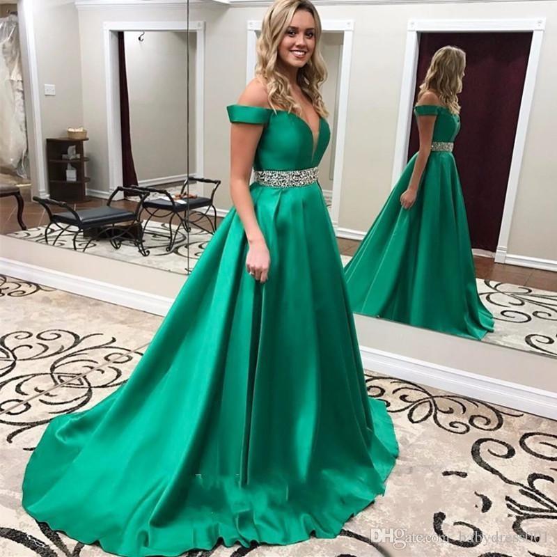 green Elegant V Neck Long Prom Dresses 2019 Green Sweetheart Beading Belt crstal Vintage Evening Dress Off Shoulder Formal Party Gowns