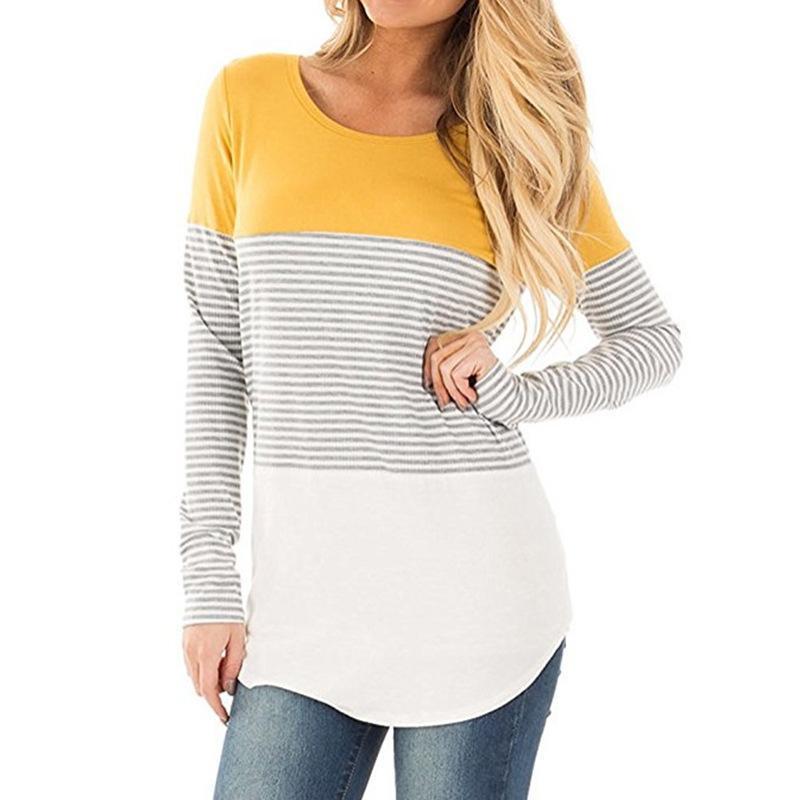 2017 Autunno T-shirt di lusso maglietta Loose Women manica lunga delle donne di marca supera i T a righe O-collo della maglietta Plus Size Abbigliamento Donna T-shirt-ph