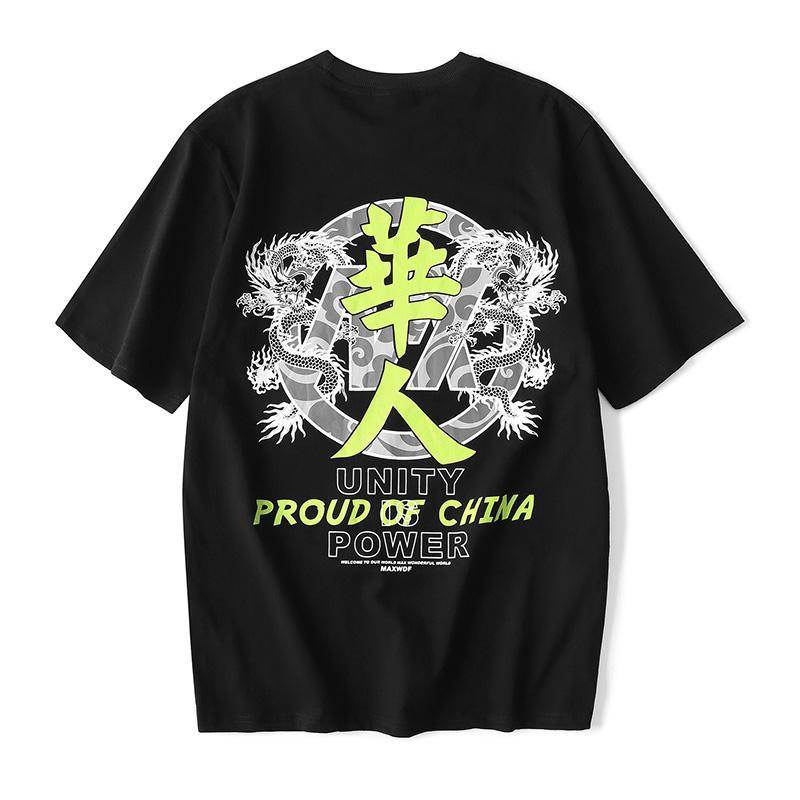 Patrón Dargon chino Negro camiseta blanca de cuello redondo para hombre del algodón flojo de Hip Hop camisetas de manga corta de Harajuku de gran tamaño de la camiseta