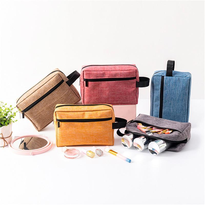 Sac cosmétique couleur solide portable pour les femmes multi-fonction à grande capacité Elargi Sac de toilette Poignée Maquillage Voyage Stockage