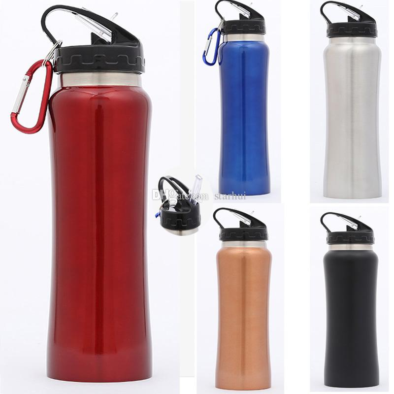 500ML Stainless Steel Water Bottle Carabiner Buckle Vacuum Kettle New Travel Insulated Cooler Drinking Mug Cup With Straw Lid WX9-807