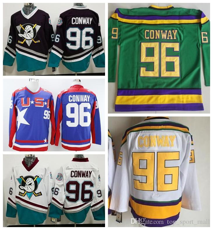 Anaheim Ducks 96 Чарли Conway Джерси Мужчины 1993 Mighty Ducks кино Чарли Conway Трикотажные изделия Хоккей Третий альтернативный Фиолетовый Белый