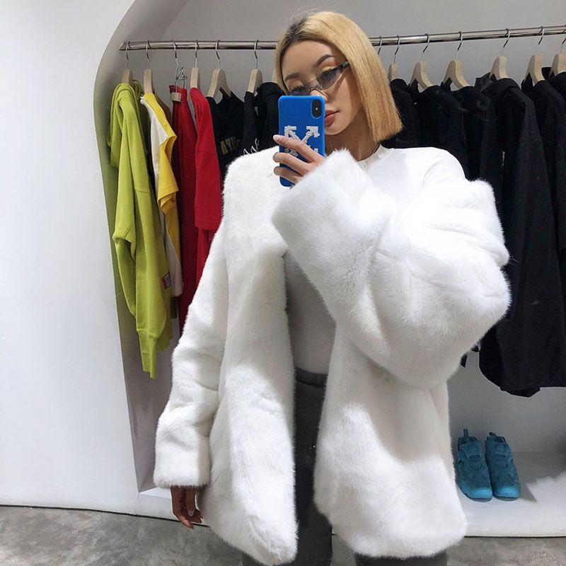 Faux Fur Coat Women Winter Warm Faux Velvet Loose Thicken Long Fur Coats