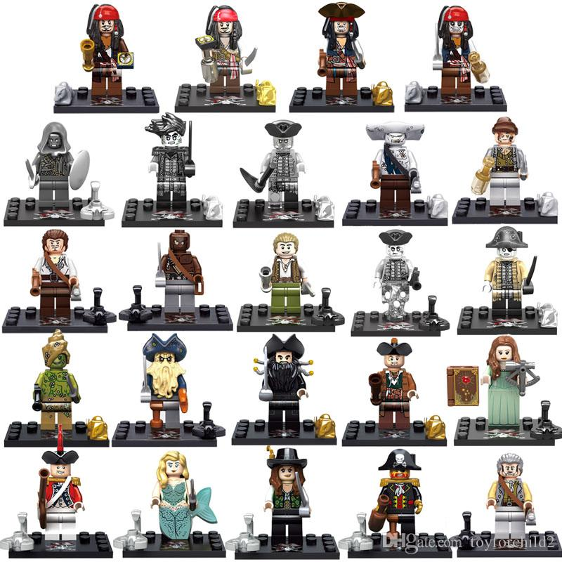 8pcs Caribbean Pirate Mini Action Figure Captain Jack Sparrow William Hook Davy Jones Elizabeth Barbossa Salazar Building Blocks Toy