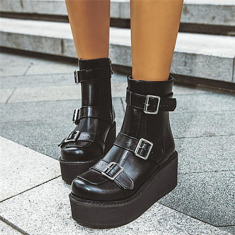 Fashion Womens Wedge High Heels Shoes Pumps Platform T-Strap Buckle New Creepers