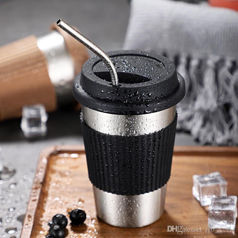 15oz Stainless Steel Mug Coffee Mugs Single Layer Pint Metal Cups Glasses Drinking Tool with Cup Sleeve and Lid Free Shipping