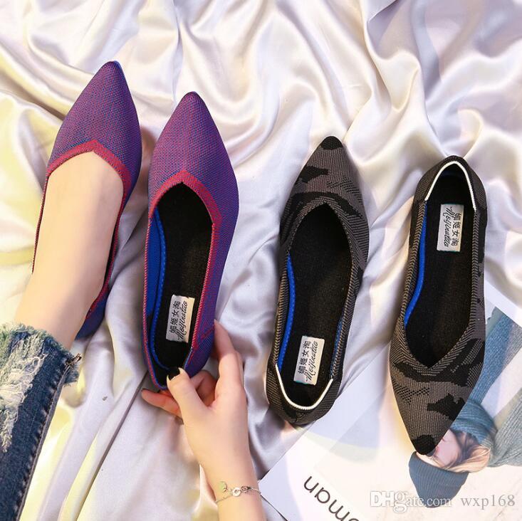 Scarpe basse da donna Casual Slip On Single Cloth Shoes Lady Mocassini Pointed Toe Fashion Plus Size Espadrillas Calzature femminili new 32-44
