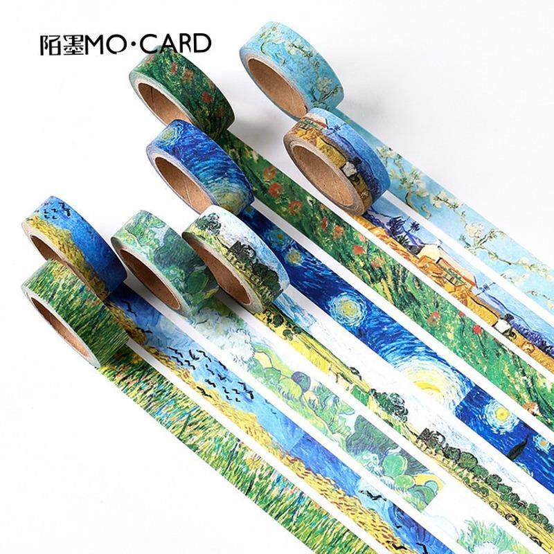 1 pcs Washi Tapes DIY Van Gogh Painting paper Masking tape Decorative Adhesive Tapes Scrapbooking Stickers Size 15 mm*7m 2016