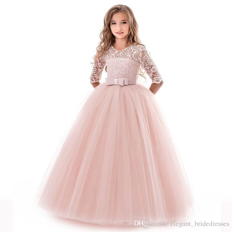 2019 Vestidos de niña de flores para bodas Party 1/2 Sleeve Jewel con aplique Encaje Sash Arco Primera Comunión Niños Vestidos formales