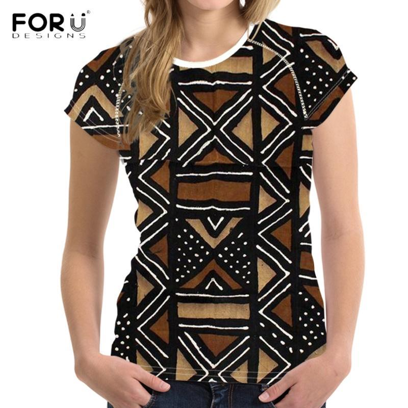 FORUDESIGNS 2020 여름 짧은 소매는 여성 아프리카 꽃 패턴 여성 T 셔츠 캐주얼 패션 스트리트 여성 의류 탑