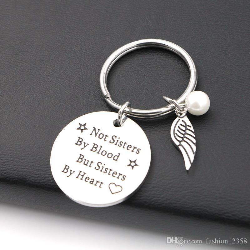 """Best Friend Keychain /""""Not Sisters By Blood But Sisters By Heart/"""" Keyring Tag D"""