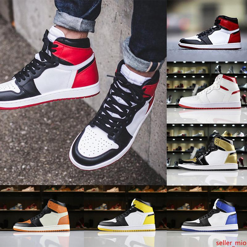 Hot Sale 1 OG Men Basketball Shoes High Quality Blue-Moon Black Toe Yellow-Ochre Shadow Trainers Sport Athletics Sneakers Shoes Size 41-47