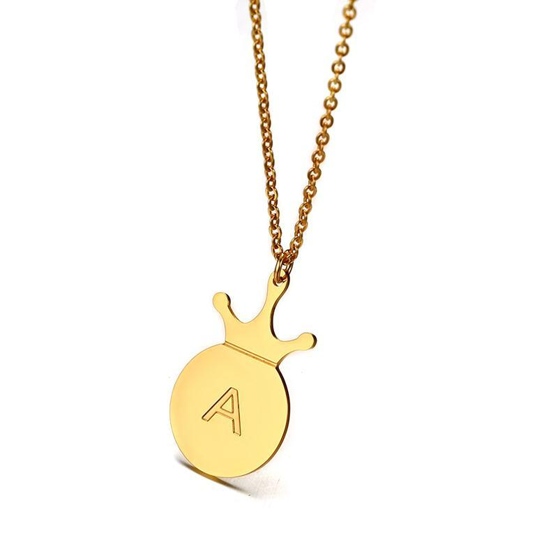 A-Z Simple Tiny Initials Necklace Stainless Steel Crown Disc Letters Women&#39s Personalized Charms Pendant Letter Necklace
