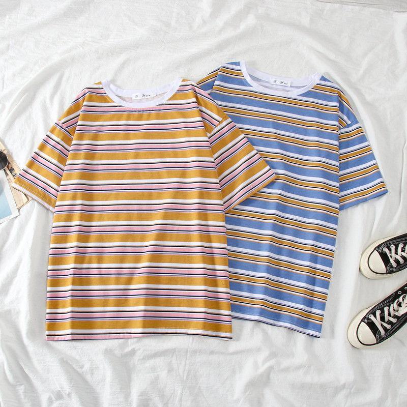 inst de mangas curtas roupas de moda da camisa das mulheres versátil listras 2020 estudante de moda shirtSKUS de manga curta