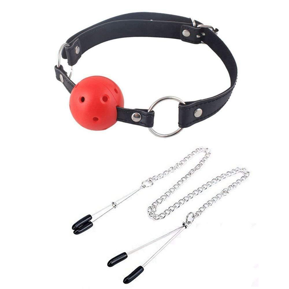 SM Erotic Sex Toys Boca Joint Clip Milk Leather Ball Massage Adult Metal Clamps Adjustable Metal Open FD T191116
