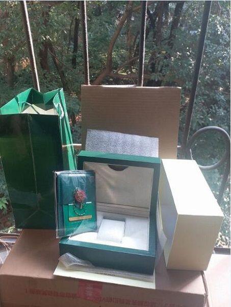 Montre de luxe Hommes pour Rolex Ecrin d'origine intérieure externes Montres Womans Boîtes hommes Wristwatch carte livret boîte verte 7339044 A1227