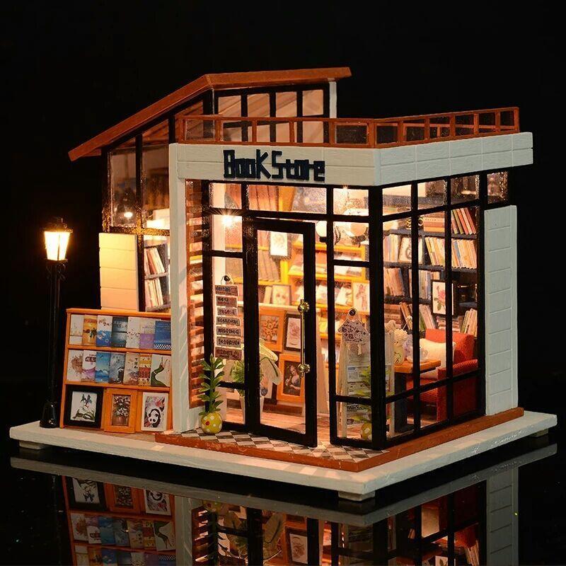 Presente de Natal DIY boneca em miniatura Dollhouse com mobiliário de madeira Casa Miniaturas brinquedos para crianças Ano Novo Book Store Y200414