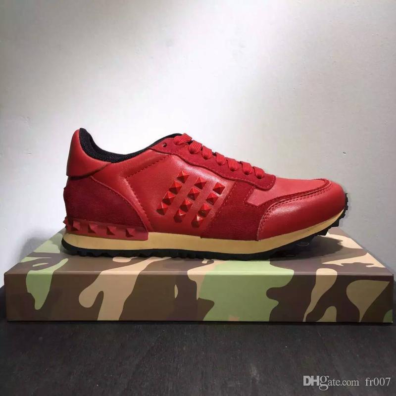 2020 Nuovo colore di lusso del progettista rock Stud Sneaker scarpe da donna e da uomo Casual Shoes rock Runner Trainer partito scarpe da sposa