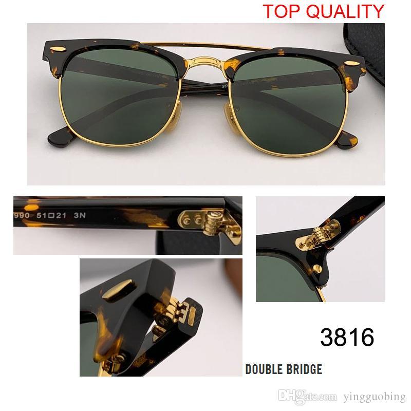جديد أعلى جودة نادي نظارات شمسية رجل إمرأة ماركة مصمم uv400 سيد كلاسيكي نظارات الشمس القيادة شبه بدون rd3816 gafas مربع