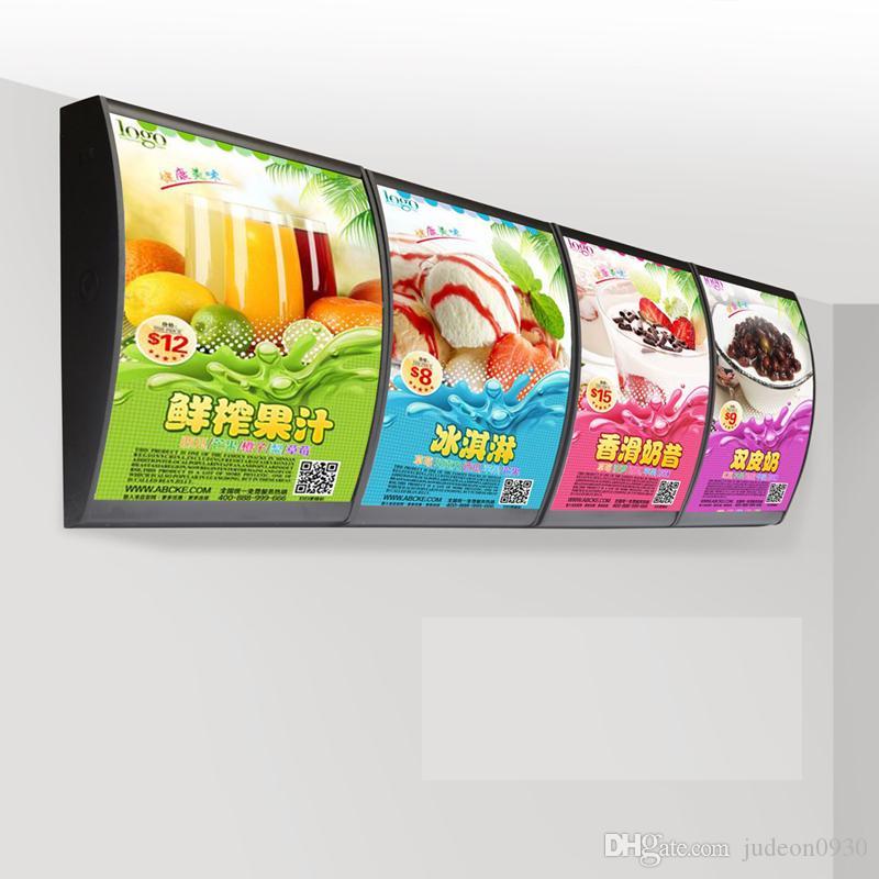 (3 graphismes / colonne) Menu monté sur mur de menu incurvé de menu de menu Courbe, un signe de planche éclairé