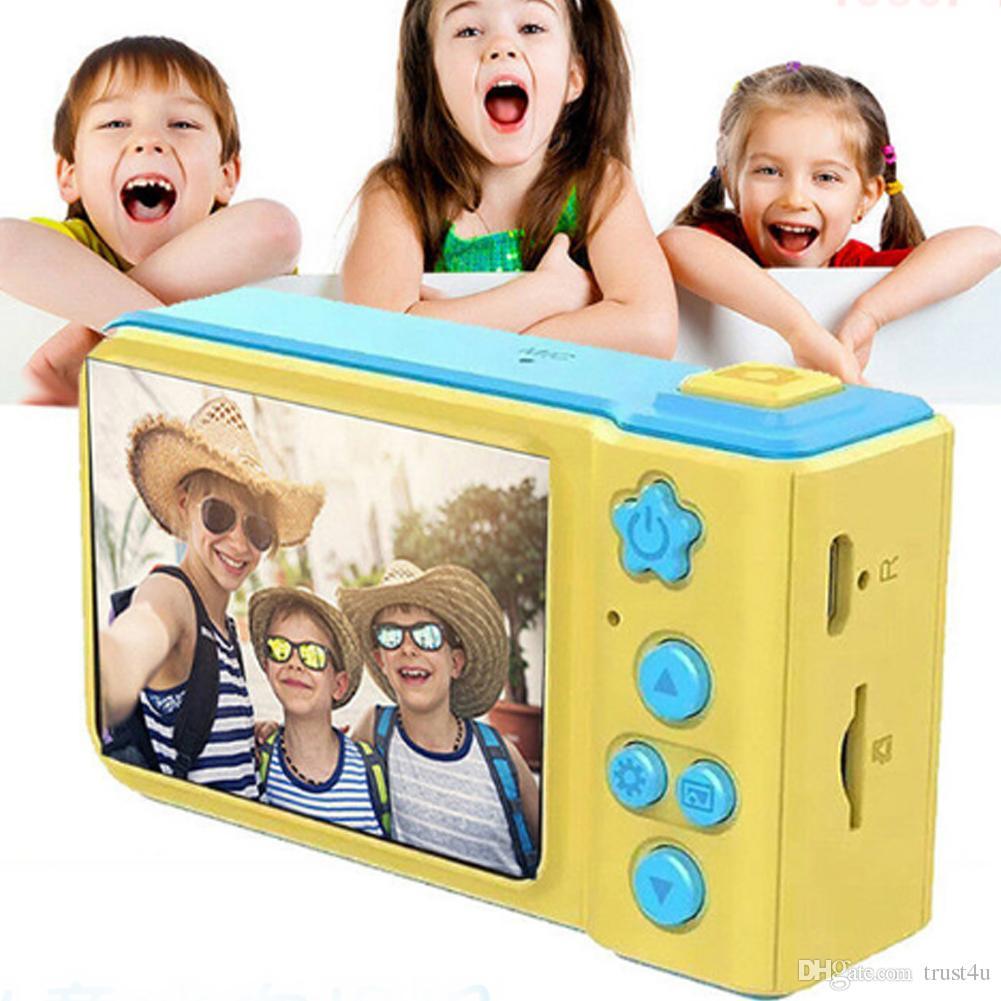 Çocuklar Kamera Mini Dijital Kamera Sevimli Karikatür Kam 1080 P Yürüyor Oyuncaklar Çocuk Doğum Günü Hediyesi 2 inç Ekran Cam Çocuklar için
