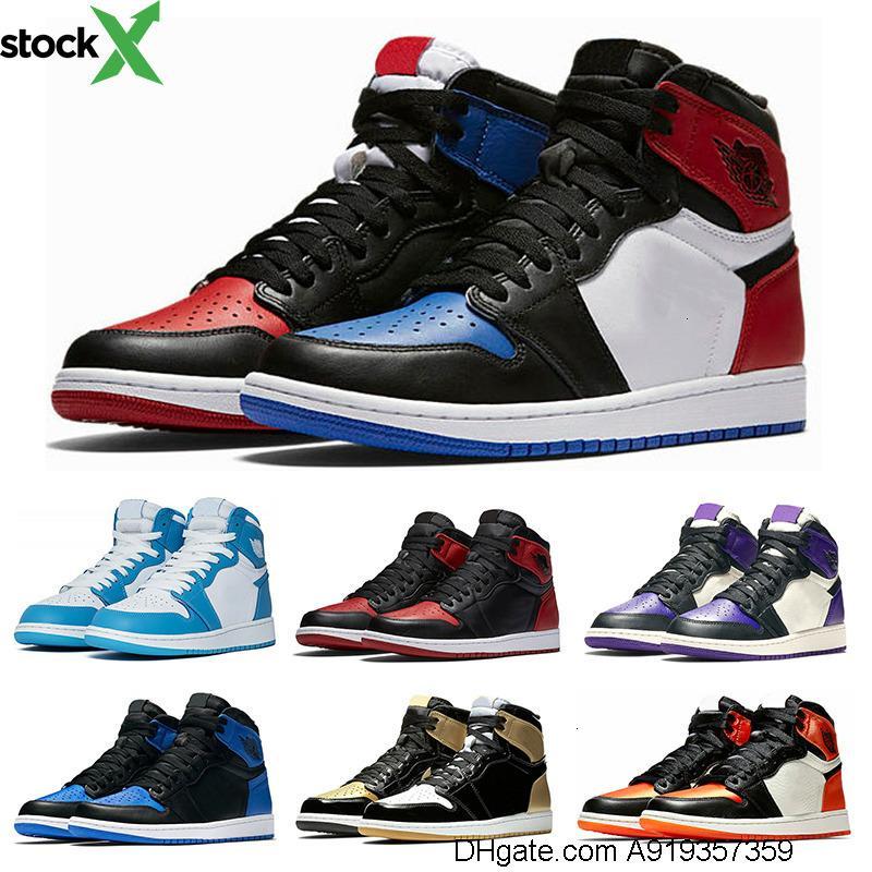 1s мужская баскетбольная обувь топ 3 с черной меткой зеленый корт фиолетовый Чикаго OG 1 игра Royal Blue Backboard спортивные кроссовки размер 7-13
