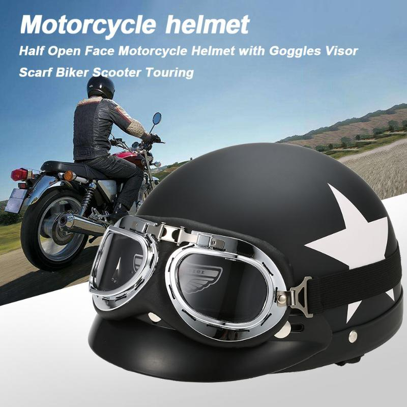 Hot New Half Helmet Open Face For Bike Casque with Goggles Visor For Scooter Cycling Touring vintage Motorcycle Helmet Black Red
